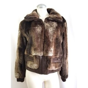 Gallery Size L Faux Fur Jacket Coat Brown Tan
